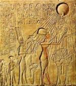 Relief depicting pharaoh Akhenaten worshiping Aton