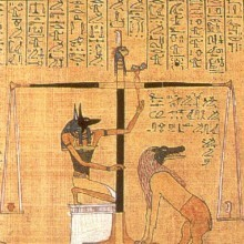 Anubis weighing heart, scene from the Book of the Dead