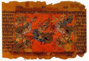 Mhabharata, illustration of a battle of Kurukshetra War