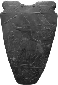 Picture of the front side of the Narmer Palette