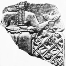 Black and white photo of Stele of Vultures
